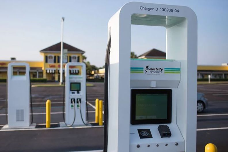 An Electrify America charging station