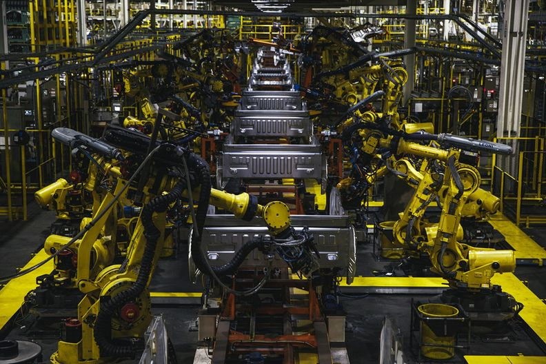 Ford F-series trucks on the production line