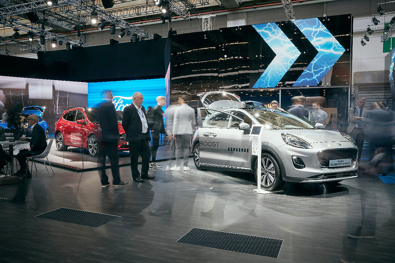 The Ford Puma with EcoBoost Hybrid at the Frankfurt auto show.