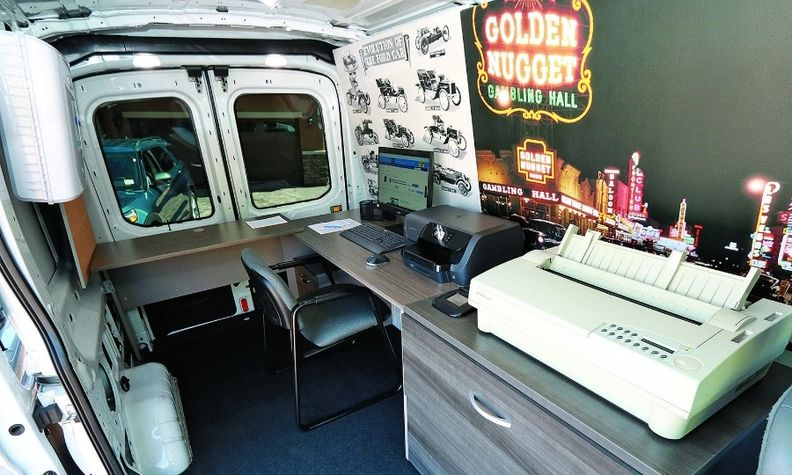 The Gaudin Go van includes a desk, chair, computer and dealership software needed to complete the F&I process at customers' homes or other locations.