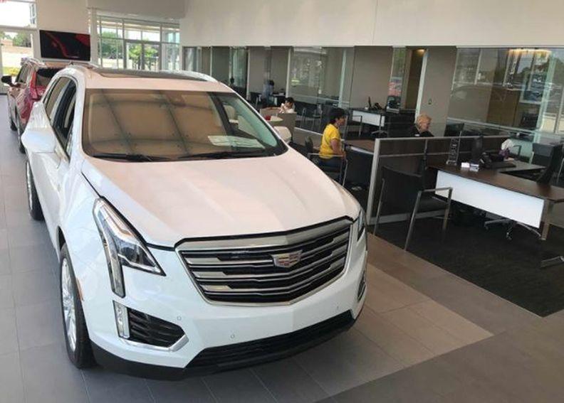 Inside a Cadillac dealership