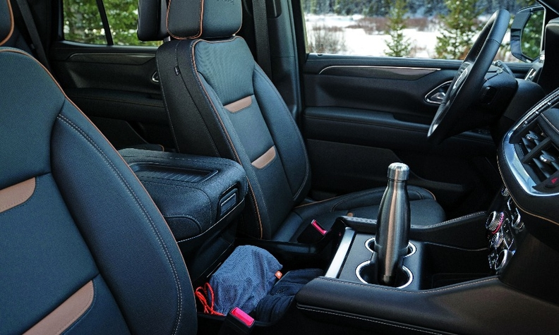 The console in the 2021 GMC Yukon Denali can glide up to 10 inches back to make more space.