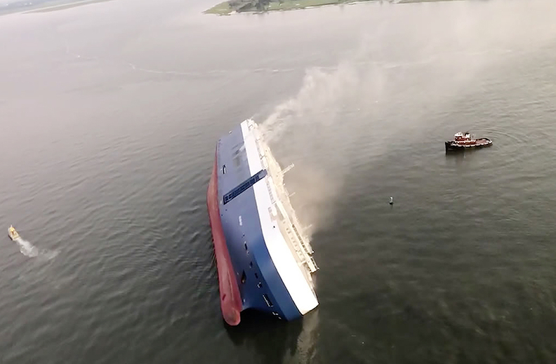 The U.S. Coast Guard said a pilot and 23 crew were aboard the Golden Ray when it overturned in St. Simons Sound.
