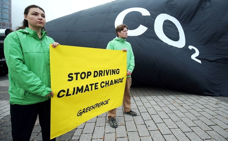 The Frankfurt auto show has attracted protestors from environmental activist groups. Greenpeace on Tuesday inflated a large black balloon emblazoned with the word CO2 outside the show's venue.