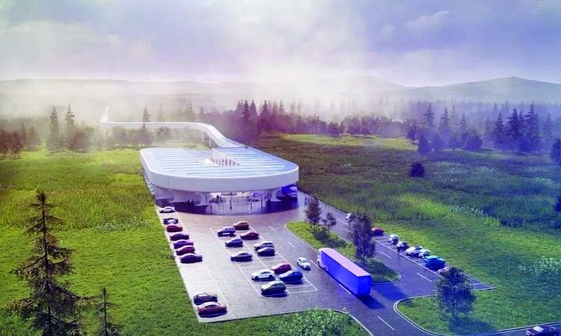 Construction of the $500 million certification center and test track, shown in a rendering, will begin in 2022.