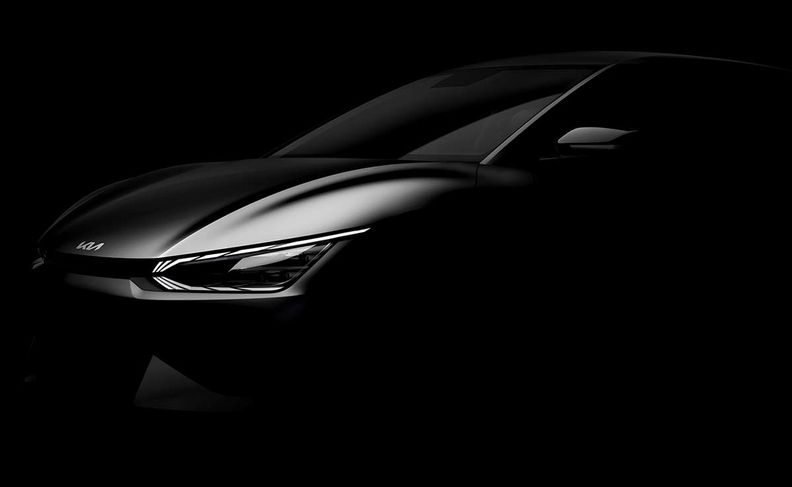 Silhouette teaser photo of the Kia EV6 electric crossover