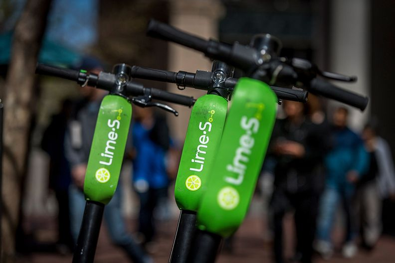 Lime scooters await riders