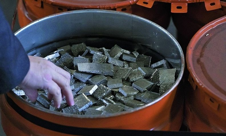 China has focused on securing supplies such as cobalt, shown here in cut cathodes.