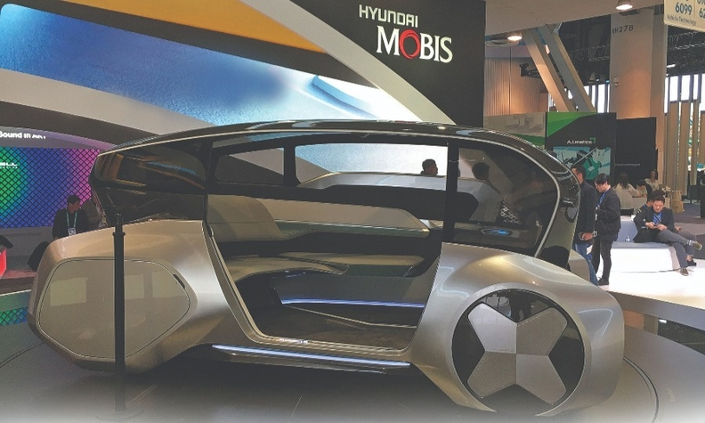 Hyundai Mobis showed the M Vision S, a hydrogen fuel cell-powered autonomous concept, at CES in Las Vegas in January.