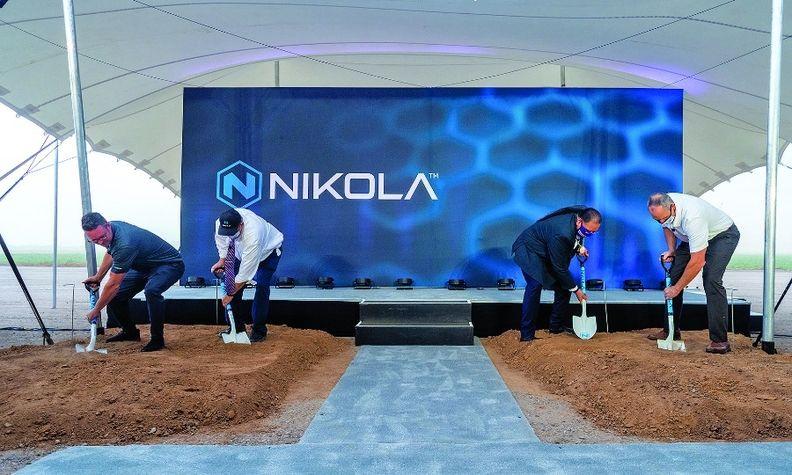Nikola and local leaders break ground last July for Nikola's manufacturing plant in Coolidge, Ariz.