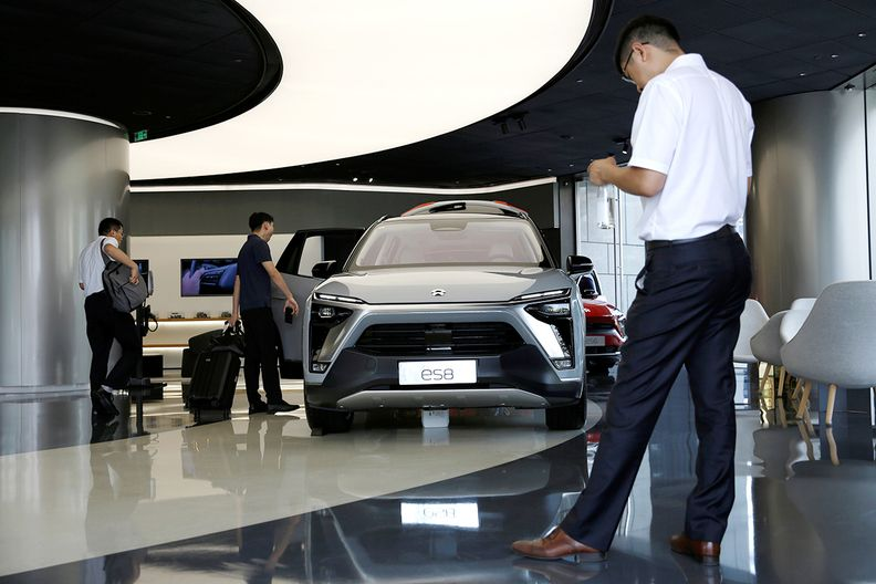 A Nio ES8 electric utility vehicle is displayed at its store in Beijing.