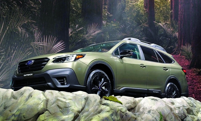 Subaru does not have to conquest as much now because vehicles such as the 2020 Outback, at left, keep customers.