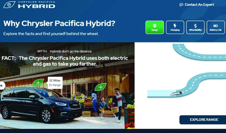 EV tech is made easy on Pacifica Hybrid site