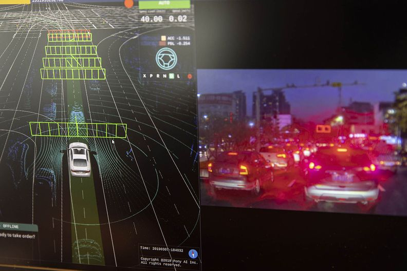 Cockpit screen in a self-driving vehicle