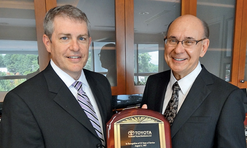 Fred Anderson Right Of Toyota Scion In Raleigh N C And Perry Houck Southeast Distributors Columbia S Area General Manager