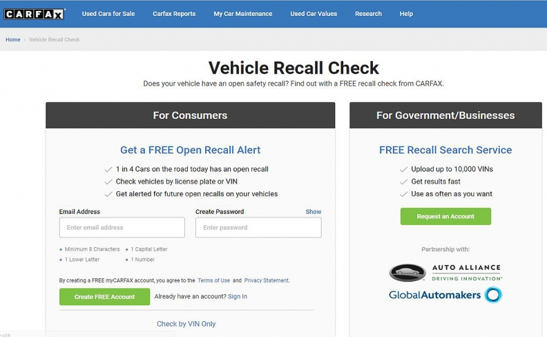 Carfax creates online tool for bulk auto recall searches
