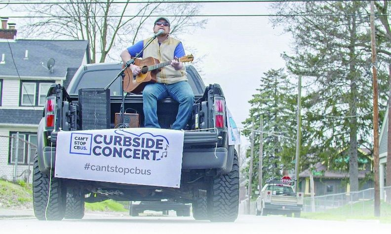 Trucks provide transportation, power for equipment and stage space for performances outside homes.