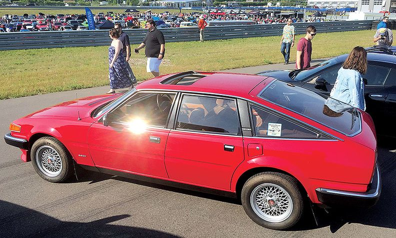 A 1985 Rover SD1 at the M1 Concourse, a popular venue for classic car enthusiasts. The open-air 87-acre site will enable social distancing.