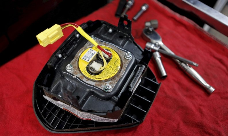 A recalled Takata airbag inflator in Miami, Fla.