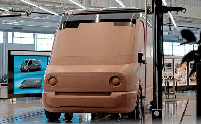 Clay model of Rivian's electric delivery van