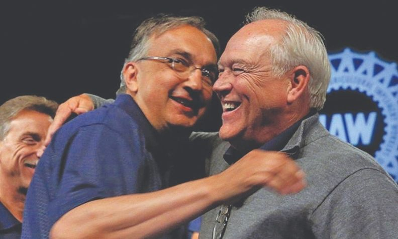 This 2015 hug between Sergio Marchionne, left, and Dennis Williams preceded an $8,494 dinner.