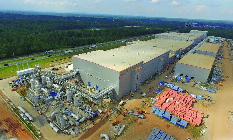 The second of two SK battery plants is under construction in Commerce, Ga. The first plant was completed this year.