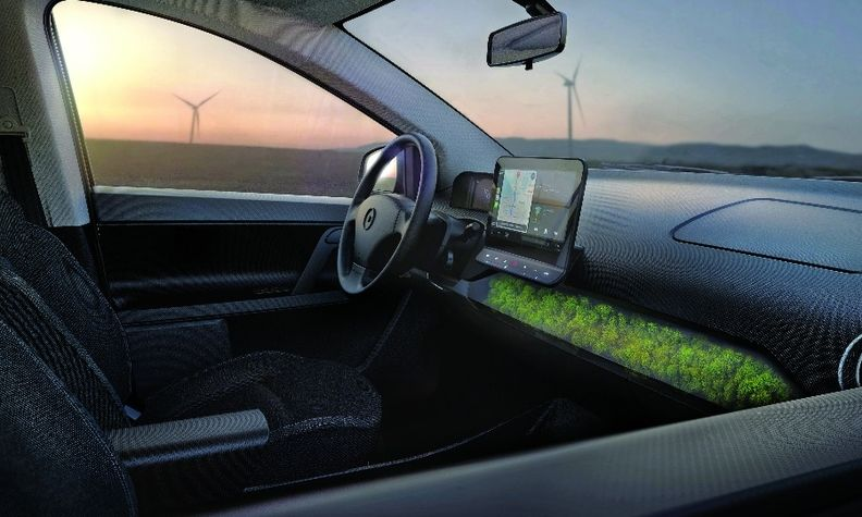 Sono Motors' Sion prototype has island moss built into the dash to help regulate humidity.
