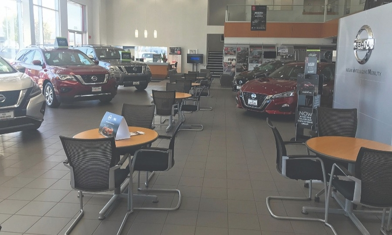 While Stevens Creek Nissan's showroom in Santa Clara, Calif., is closed because of the COVID-19 pandemic, business development center and sales employees connect via video.