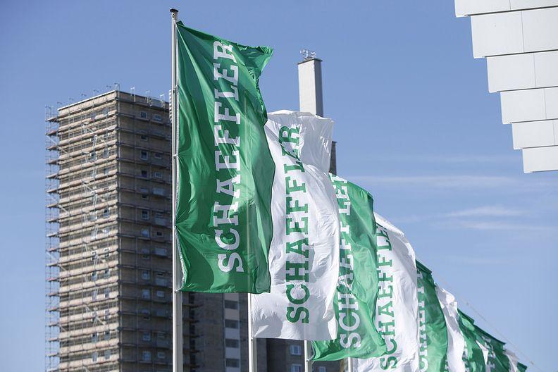 Flags in front of Schaeffler's headquarters in Germany