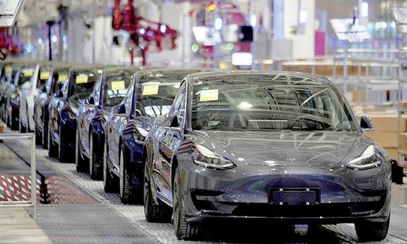 Tesla cars on the assembly line