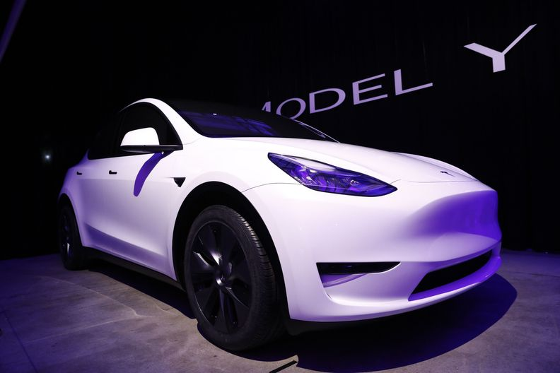 Tesla Model Y in white