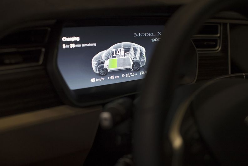A battery status screen in a Tesla vehicle