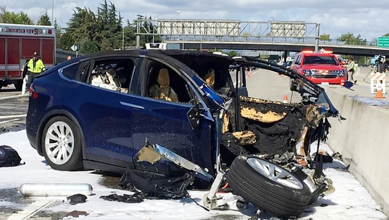 A Tesla Model X in Autopilot mode hit the same crash attenuator that was struck by another vehicle 11 days prior. The NTSB says the attenuator, which is designed to absorb crash forces, had not been repaired.