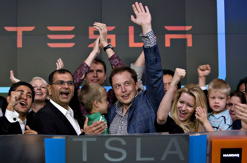Elon Musk participates in the opening bell ceremony at the Nasdaq in New York in 2010.
