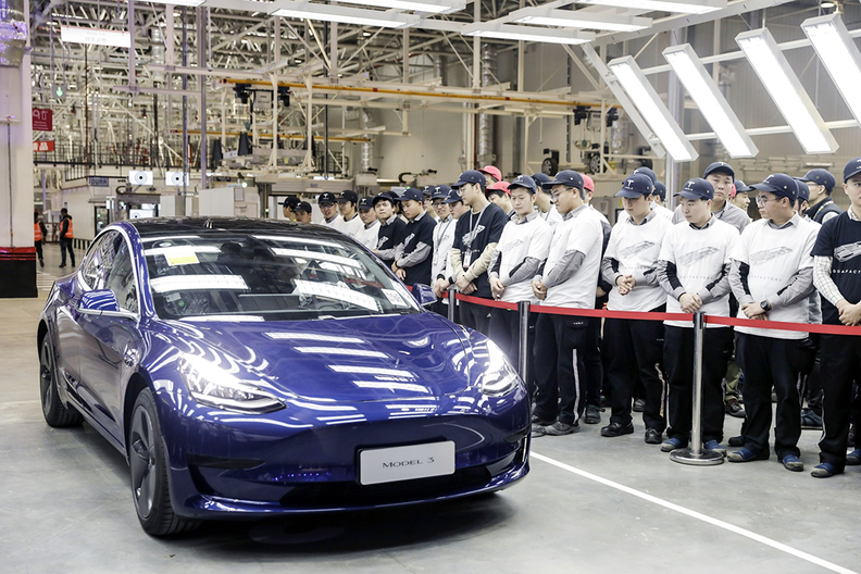 A Tesla vehicle rolls off the production line at the Shanghai plant