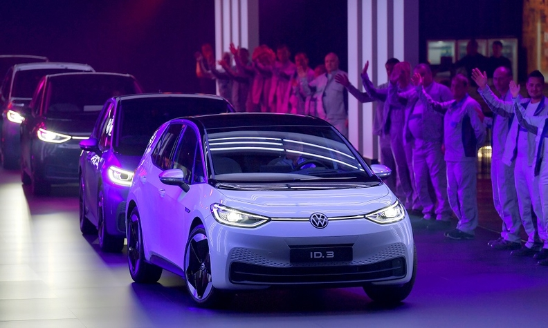 New VW ID3 cars pictured during a ceremony marking start of the production of the EV in Zwickau, Germany.