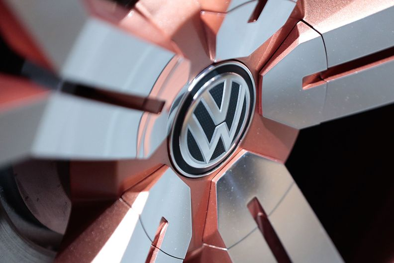 Volkswagen logo on a hubcap