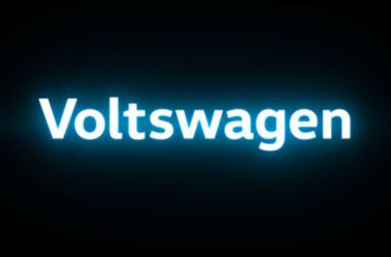 VW's new Voltswagen signage