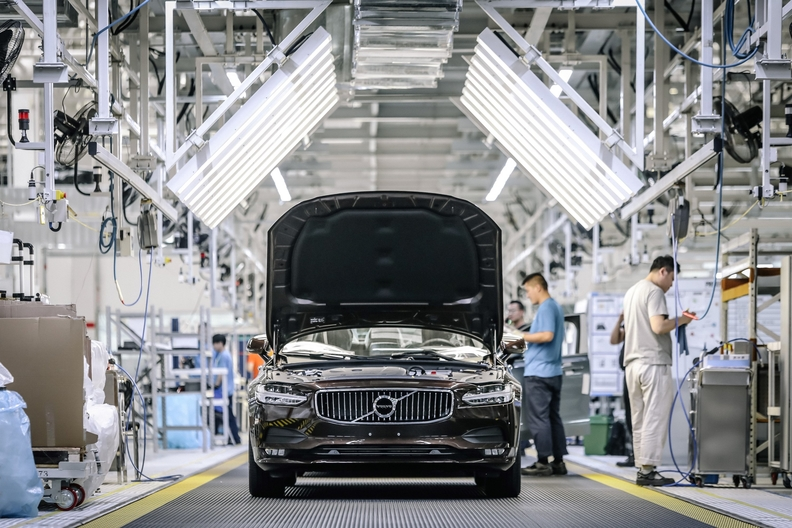 Volvo produces the S90 flagship sedan at a factory in Daqing, China.