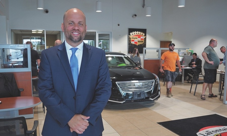 """Tom Wagner of LaFontaine Buick-GMC and LaFontaine Cadillac in Highland, Mich., does an initial interview while the deal is put together. """"It's just a lot of fact-finding upfront, so when they do finally reach finance, there's no surprises."""""""