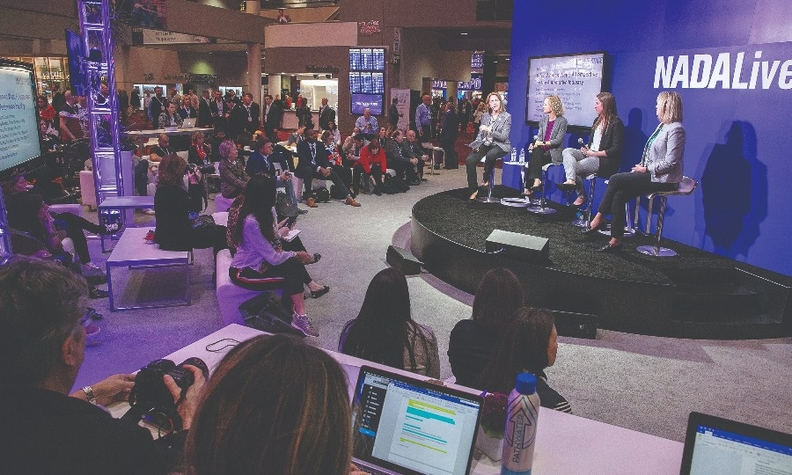 """The panel for the """"What Women Want: A Perspective on the Automotive Industry"""" panel during the NADA Show, from left: Janet Barnard, Cox Automotive; Liza Myers Borches, Carter Myers Automotive; Hannah Gearhard, Northwood University, and Lori Wittman, Cox Automotive."""