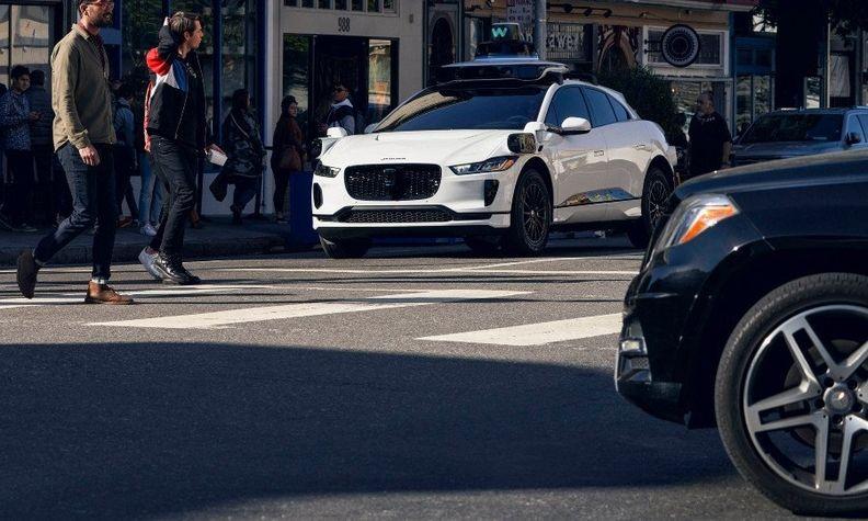 A Waymo Jaguar testing in San Francisco