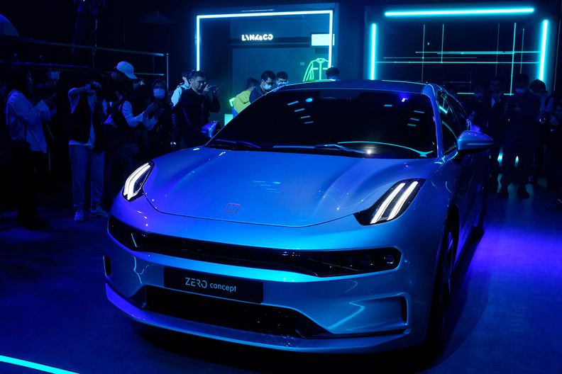 A Lynk & Co. Zero Concept car displayed at a promotional event in Beijing.