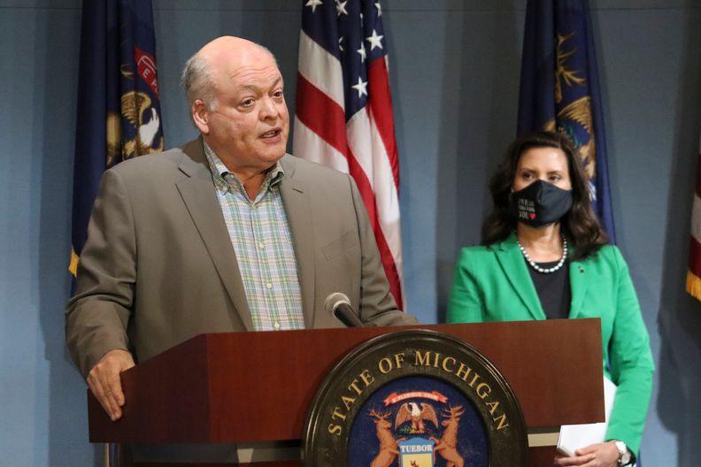 Ford CEO Jim Hackett and Michigan Governor Gretchen Whitmer