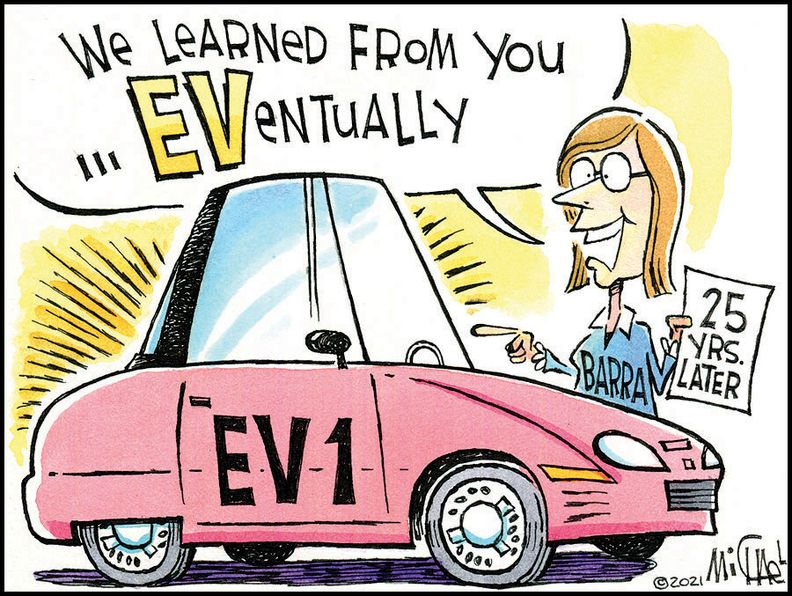 GM rolled out the EV1 25 years ago. But the car planted the seed for the industry embraceof EVs now.