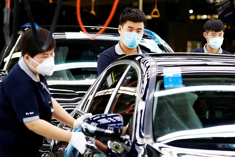 Car production at a factory in China