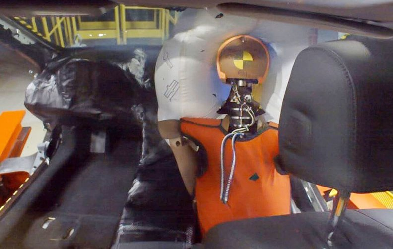 Honda said the airbag is particularly beneficial in angled frontal impacts, in which lateral collision forces can cause an occupant's head to rotate severely or slide off the airbag.