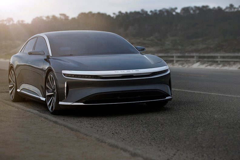 Front view of the Lucid Air electric sedan