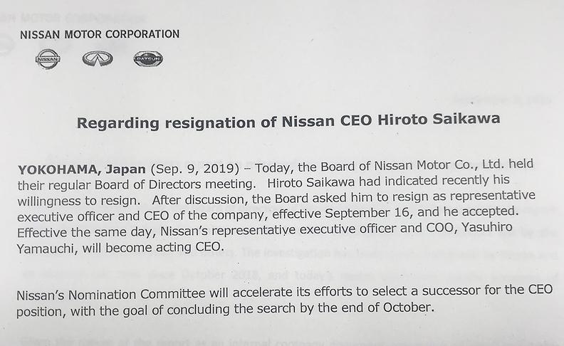 Nissan CEO Saikawa to step down this month
