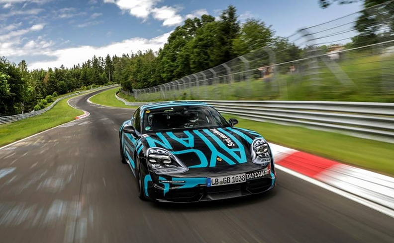 Porsche's Taycan Turbo S electric automobile on the Nurburgring.